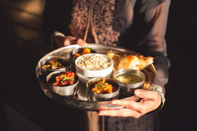 A tray of Thali at Shalims Indian Restaurant Weymouth